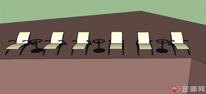 某个室外躺椅设计su模型素材