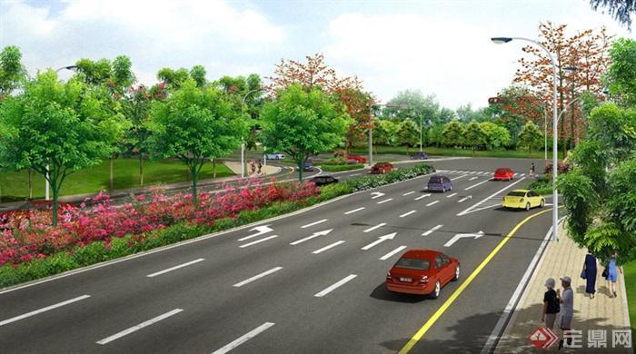 某交叉路口道路绿化设计psd效果图