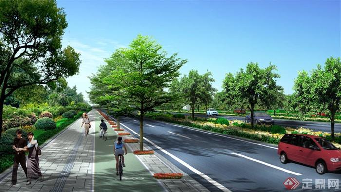 园林景观某路段铺砖道路绿化设计效果图(psd格式)