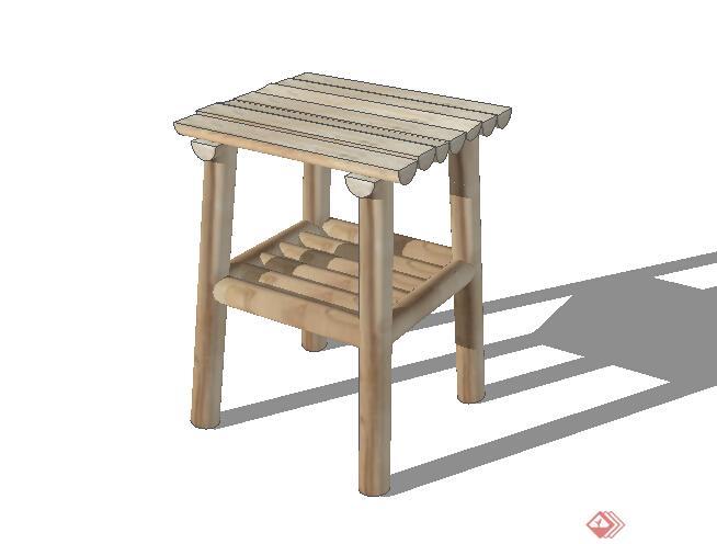 某木质凳子设计su模型素材