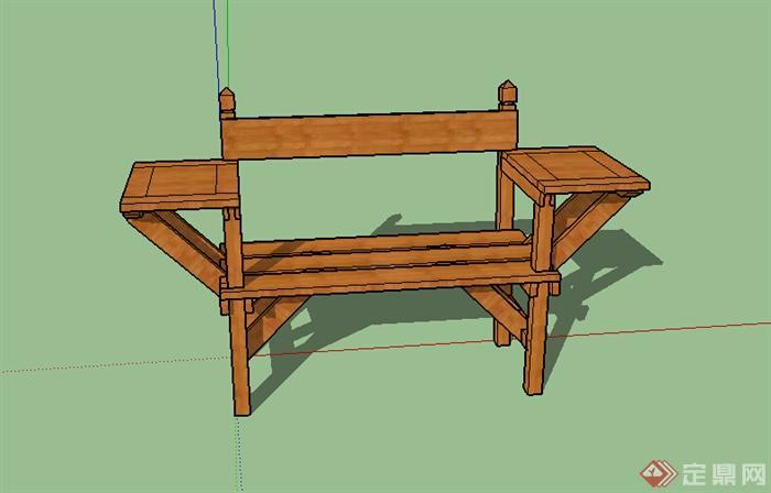 某木质特色坐凳设计su模型参考