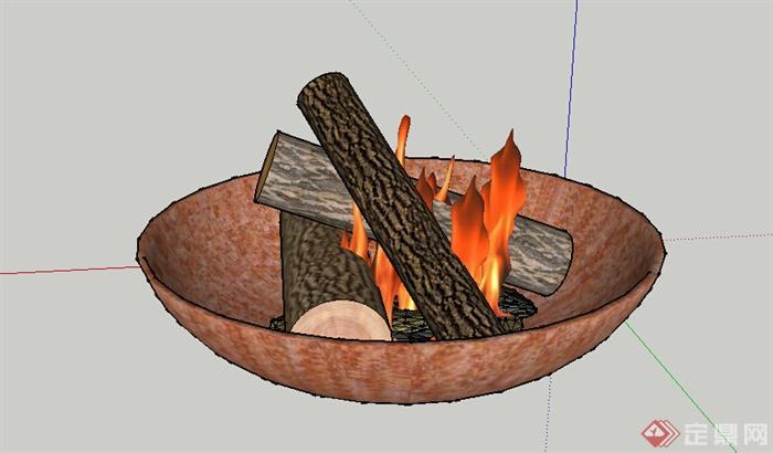 某室外火盆火炉设计su模型