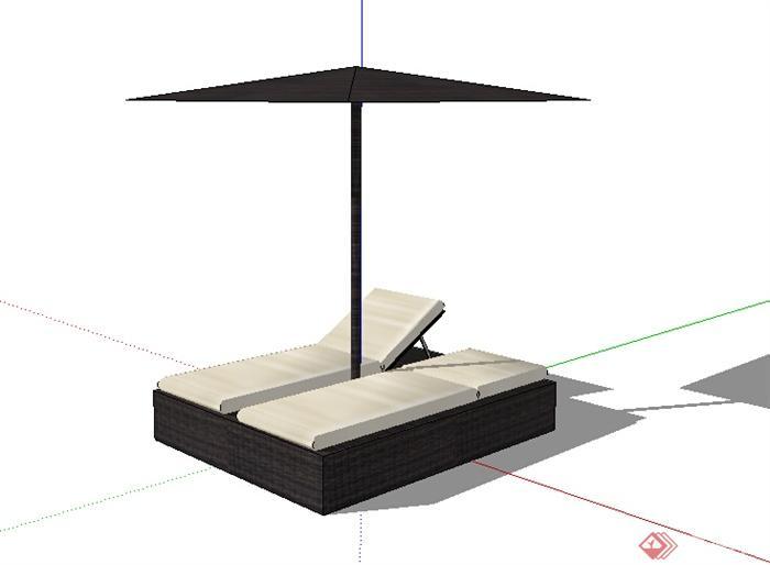 某室外阳关躺椅设计su模型素材