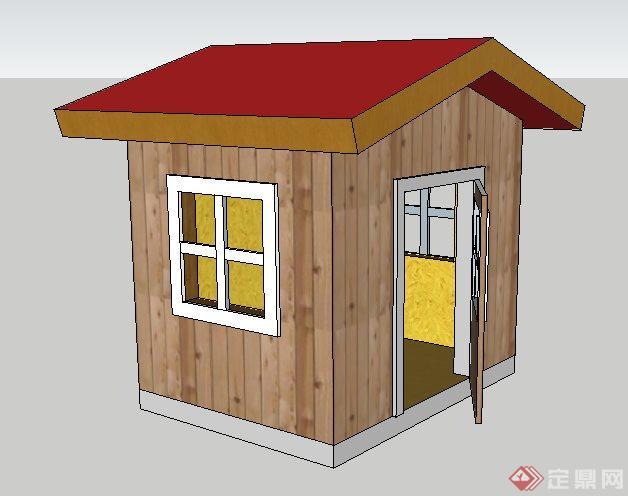 一间木板拼接小木屋建筑设计SU模型