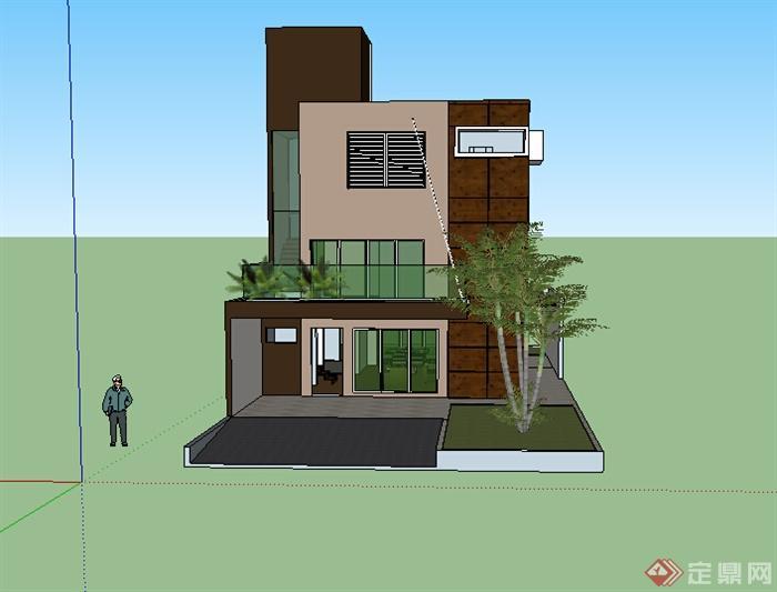 某特色多层小别墅设计su模型