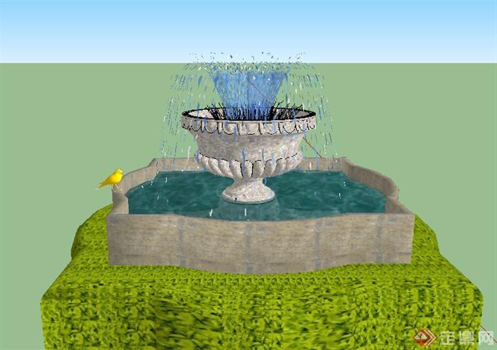 某个欧式小喷泉设计su模型
