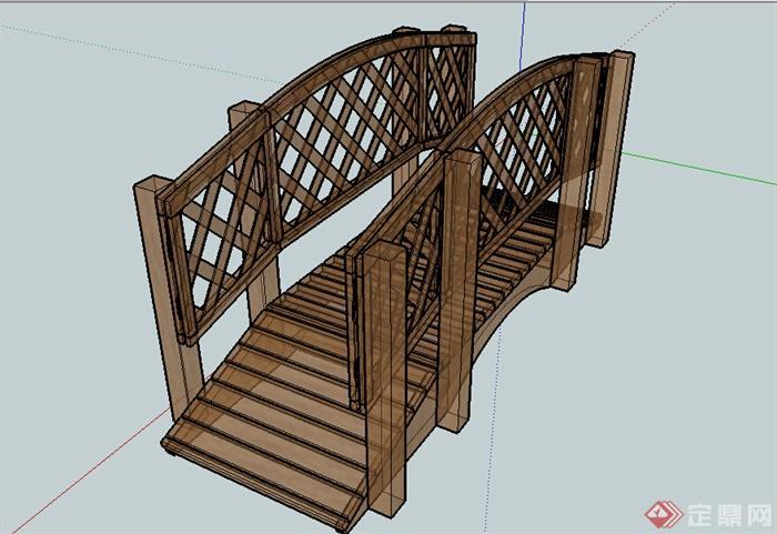 某个木质园桥设计SU模型素材