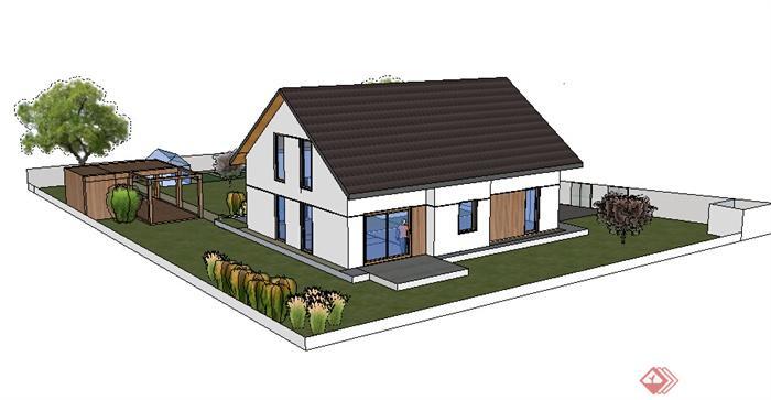某现代风格农村民居住宅带庭院建筑设计su模型