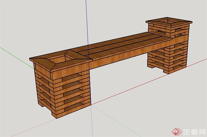 现代风格木质长条坐凳设计su模型