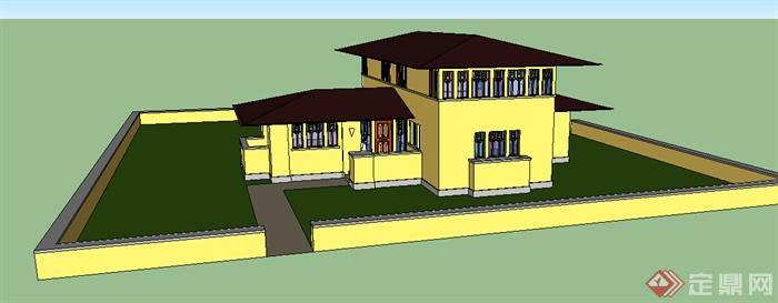 现代风格两层别墅带庭院建筑设计su模型(1)