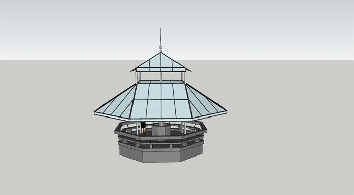 苏州博物馆八角亭设计su模型
