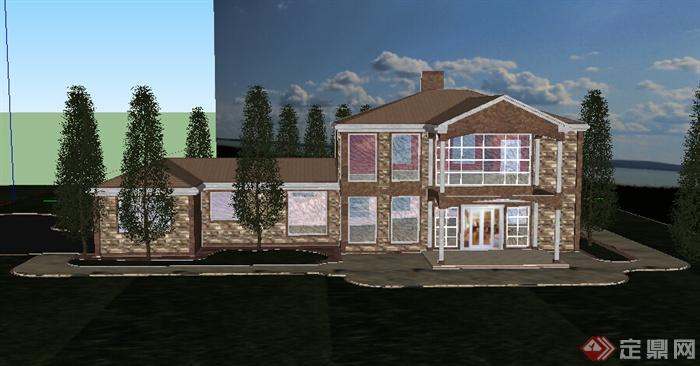 某美式特色小别墅建筑设计su模型(含庭院)