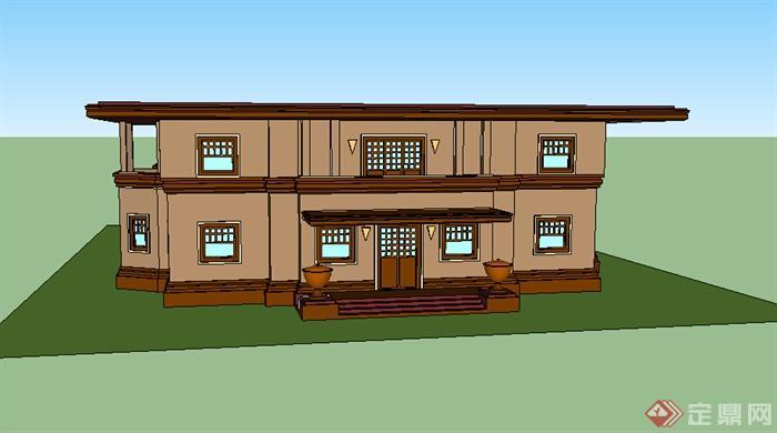某欧式2层小别墅设计su模型素材