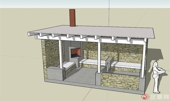 某欧式私家园亭建筑设计su模型