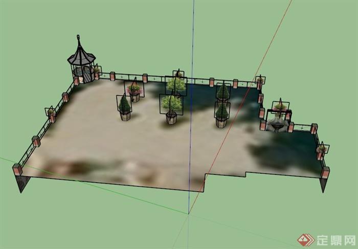某欧式建筑屋顶花园景观设计su模型(1)