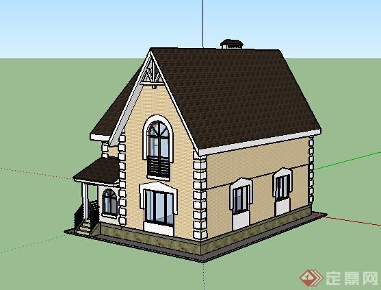 欧式风格两层民居住宅建筑设计su模型