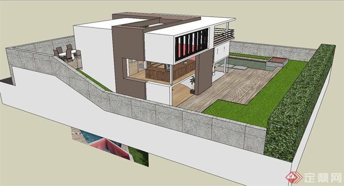 某三层住宅建筑设计su模型(带室内)
