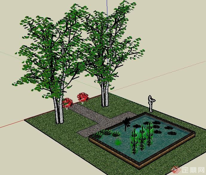 某园林景观矩形小水池景观su模型
