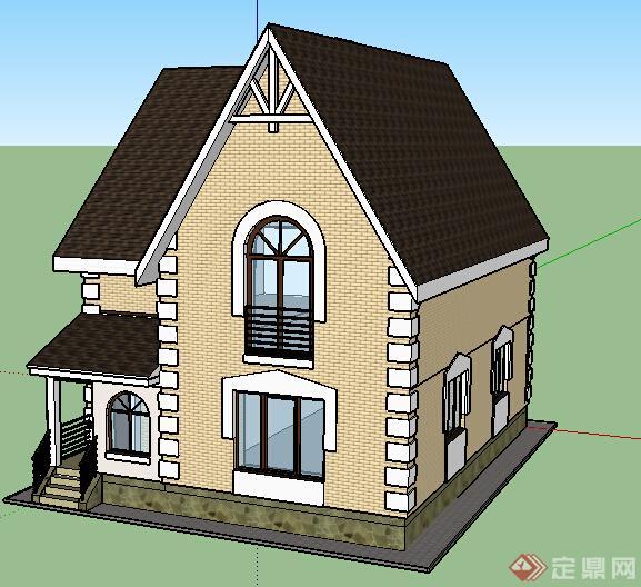 某欧式风格两层住宅建筑建筑设计su模型
