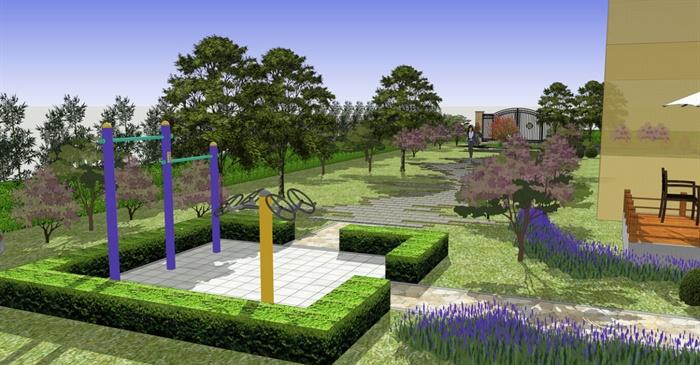 现代别墅庭院景观设计_现代风格别墅小庭院景观设计SU模型[原创]