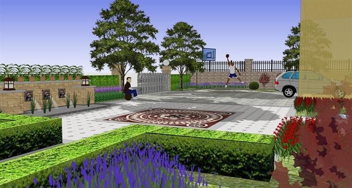 现代风格别墅小庭院景观设计su模型[原创]