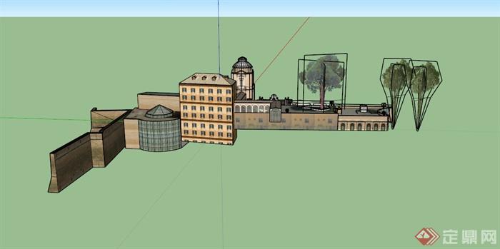 某欧式古城堡建筑设计su模型