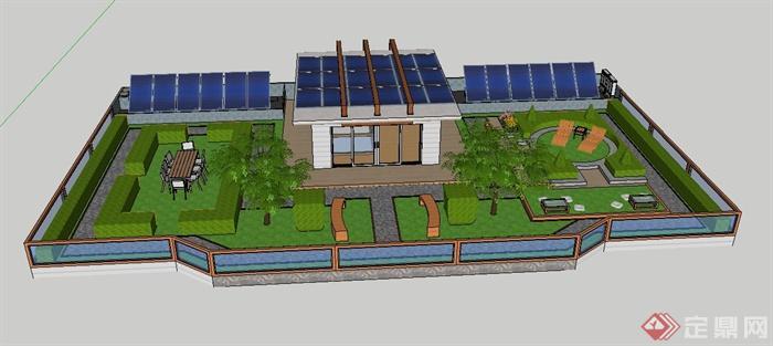 某屋顶花园景观设计su精致模型(1)