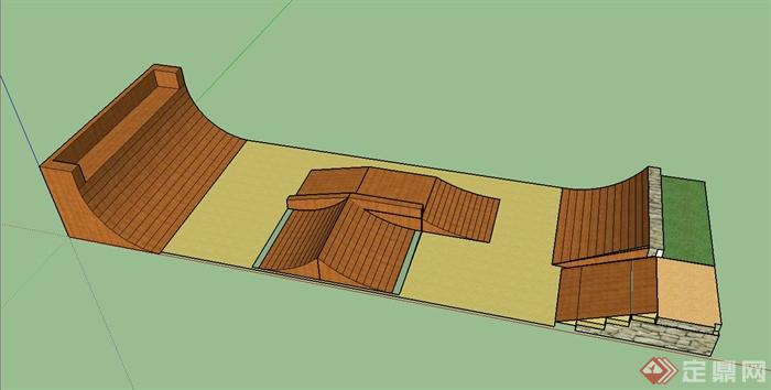 一个滑板场坡道设施设计SU模型(1)