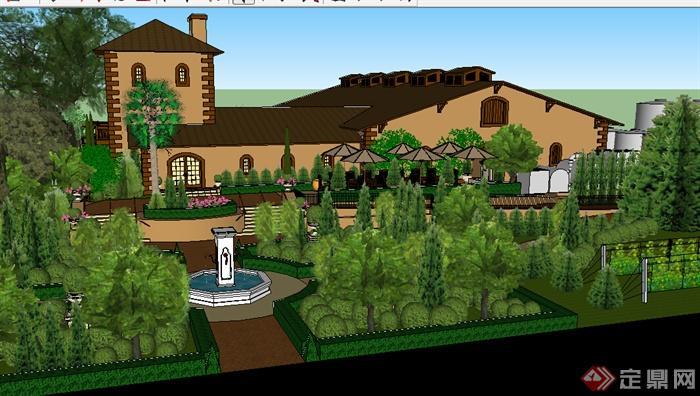 某欧式豪华大别墅建筑设计su模型(含景观)