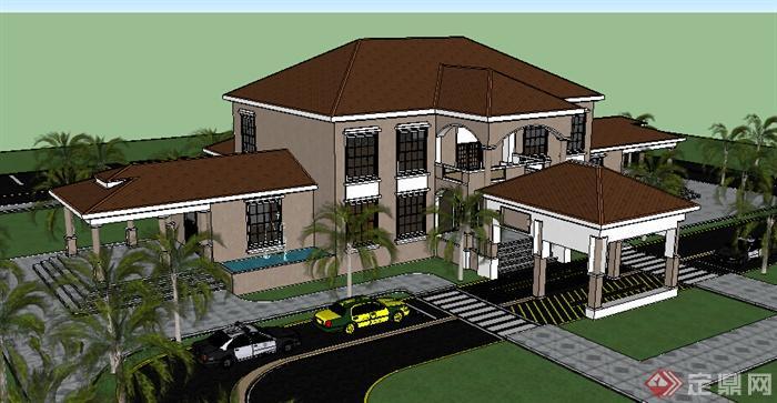 该压缩包里面包含某美式特色别墅建筑SU模型格式的文件,模型设计的比较认真,颜色搭配的也比较简洁,可以供广大建筑设计爱好者使用,也可用作同类项目参考使用。