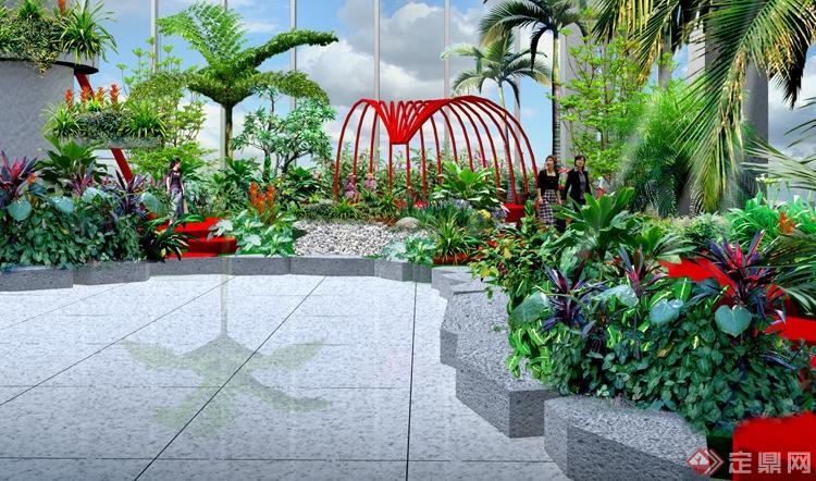 贵阳机场室内景观设计方案之办票厅左侧花园效果图