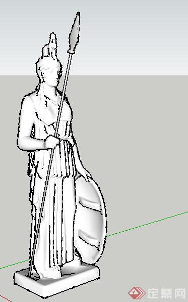 欧式风格雅典娜人像雕塑小品设计su模型