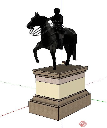 欧式风格黑色带基座骑士雕塑小品设计su模型