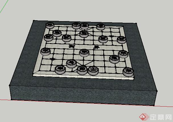 现代中式风格棋牌雕塑小品设计su模型(1)