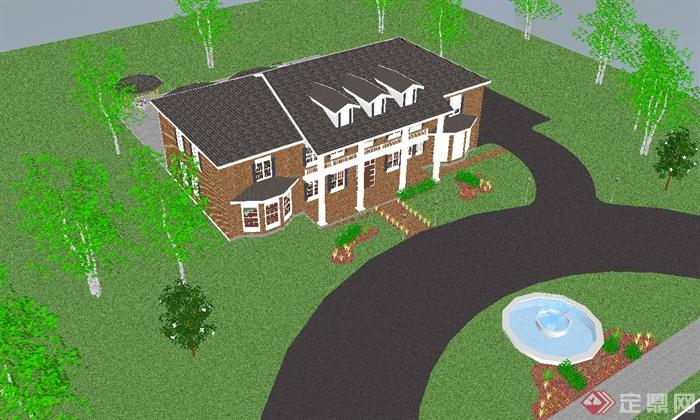 某欧式二层别墅建筑设计su模型