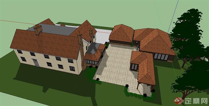某欧式住宅别墅建筑设计su模型(带庭院)