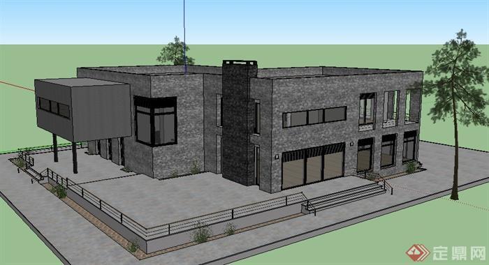 某 现代 二层 青砖 住宅建筑设计su模型
