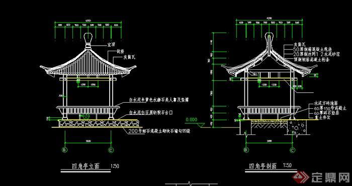 古典中式景观四角亭设计施工图(dwg格式)图片