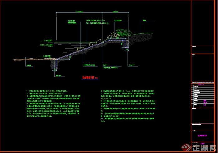 某驳岸景观设计CAD断面图cad2007标注怎么尺寸图片