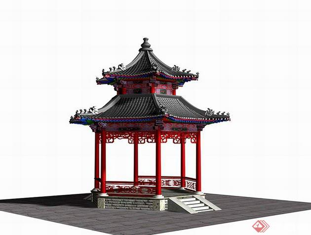 某古典中式六角亭3dmax模型素材