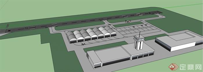 某现代风格小型飞机场建筑设计su模型