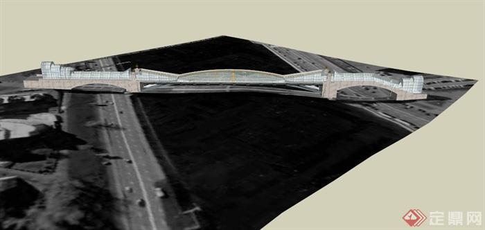 现代某到高架桥设计su模型