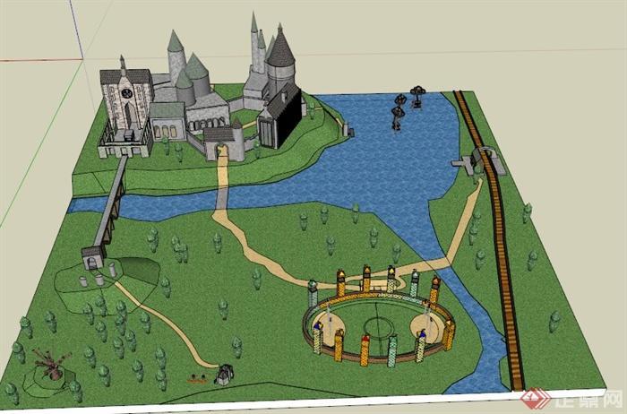 欧式某艺术学院校园周边景观设计su模型
