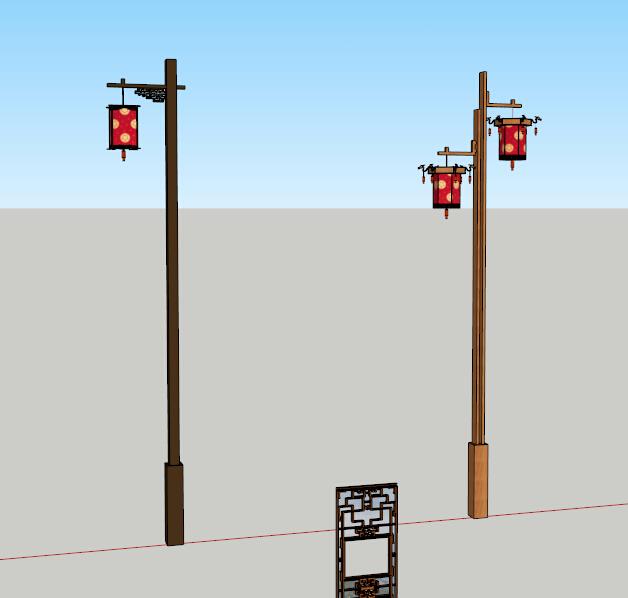 中式元素路灯设计su模型[原创]
