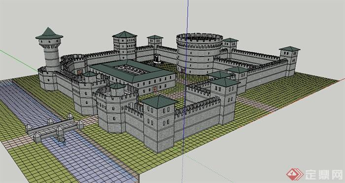某欧式城堡建筑设计su模型素材