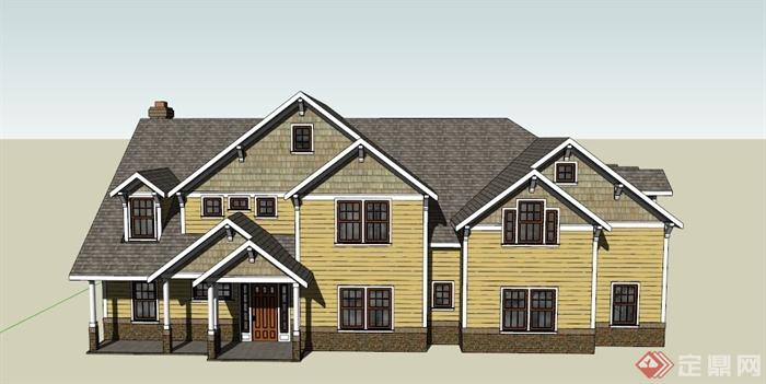 某现代中式两层阁楼式住宅建筑设计SU模型