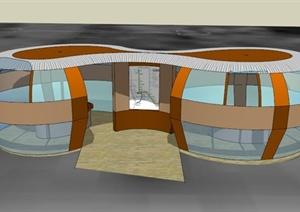 现代某地铁站休息式建筑设计SU(草图大师)模型