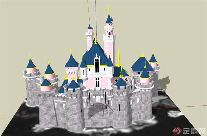 欧式某古城堡建筑设计su模型