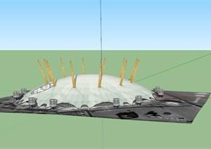 某现代圆形信号站建筑设计SU(草图大师)模型