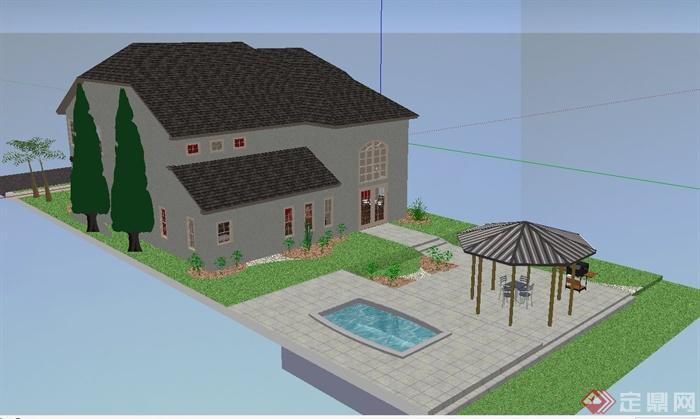 某双层别墅建筑设计su模型(带庭院和室内)图片